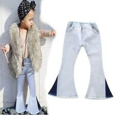 Toddler Kids Baby Girls Vintage Jeans Splice Bell-bottoms Denim Pants Trousers