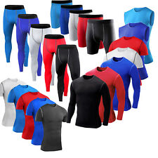 Mens Gym Sports Compression Under Skin Base Layer Tops Vest Shirt Shorts Pants