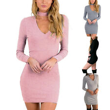 NEW Women Sexy V Neck Long Sleeve Solid Color Charming Clubwear Bodycon Dress