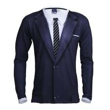 Mens Party Tuxedo T-shirt Slim Fit Tie Long Sleeve Stretchy Tops Club Costume