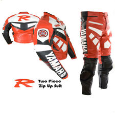 YAMAHA R RED MOTORBIKE MOTORCYCLE BIKER COWHIDE LEATHER ARMOURED 2 PIECE SUIT