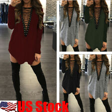 Womens V Neck Lace Up Cocktail Evening Party Bandage Mini Dress T-Shirt Tops USA
