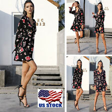 Womens Off Shoulder Floral Print V Neck Rompers Casual Cocktail Party Mini Dress