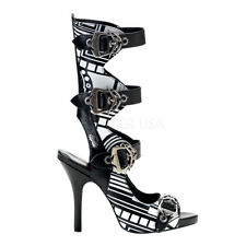ZOMBIE-106UV, Women's Platform Punk Goth 4 Buckle Sandal by PleaserUSA