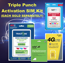 TRIPLE PUNCH ACTIVATION KIT Net10 H2O TracFone Cricket SIM Micro Nano 4G LTE 3G
