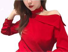 2018 New Simple Women Spring Fashion Korean Off Shoulder Long Sleeve Shirt Tops