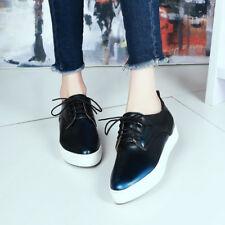 Womens Casual Lace up Creepers Platform Wedge Heels Spring Low top Shoes