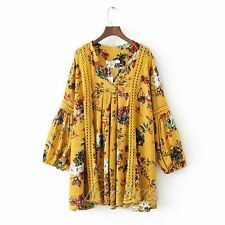 Vintage 70s Hippie Floral Print Hollow Ethnic Festival BOHO Mini Party Dress