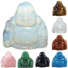 Crystal Gemstone Carved Happy Laughing Buddha Figurines Statue Luck Wealth 1.5''