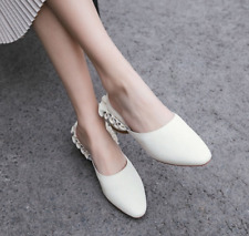 Women Lady Sandals Mules Slippers Chunky Low Heels Shoes Casual Ruffles Fashion