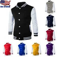 Mens Slim Fit Jacket Buttons Stand Collar Casual Baseball Coat Top Suits Outwear