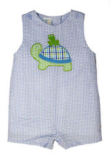 Boys Romper Petit Ami Sunsuit Blue Gingham Check Turtle Appliqued Infant NWT 9m