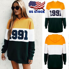 Women's Long Sleeve Number Hoodies Hoody Casual Tops Blouse Pullover Outwear USA