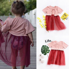 Toddler Kid Baby Girls Blouse T-shirt Tops Tulle Tutu Dress Skirt Outfit Clothes