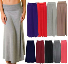Ladies Womens Gypsy Pleated Fold Over Long Length Waist Turn Up Maxi Skirt