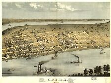 Poster Print Antique American Cities Towns States Map Cairo Illinois