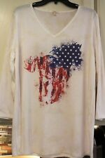 NWT ~ REBA PATRIOTIC RED WHITE BLUE BLING HORSE BLOUSE TOP SHIRT ~ SIZE  L XL