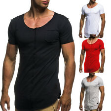 Fashion Men Summer Casual T Shirt Short Sleeve O-neck Patchwork Slim Fit T-shirt