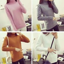 Women's Long Sleeve Turtleneck Sweater Slim Knitted Pullover Solid Jumper Blouse