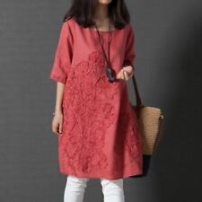Women Summer Style O-Neck Loose Plus Size Embroidered Short Sleeves Dress