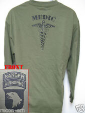101 AIRBORNE RANGER LONG SLEEVE T-SHIRT/ MEDIC/ ARMY/ COMBAT/ MILITARY/ NEW