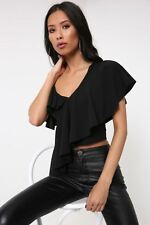 Ladies / Womens Black Ruffle Asymmetric Top With Strip I Saw It First