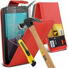 Leather Flip Wallet Case Cover with Tempered Glass For HTC Models