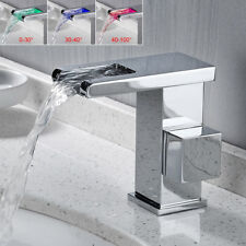 Tall LED Spout Chrome Bathroom Waterfall Basin Faucet Sink Mixer Tap Deck Mount