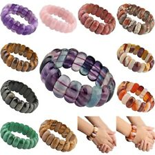 Crystal Gemstone Oval Beads Stretchy Bracelet Bangle Wristband Jewelry 8.5''L