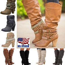 Fashion Women's Block High Heel Buckle Rivet Punk Boots Mid Calf Boots Shoes USA