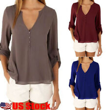 US Womens Chiffon V-neck Long Sleeve Tops Ladies Casual Blouse Loose T-shirt Tee