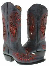 Women's Denim Blue Red Cross Sequins Leather Cowgirl Boots Pointed Toe