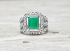 925 Sterling Silver Ring with Green Natural Onyx Gemstone Emerald Cut Handmade