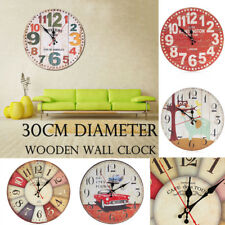 30CM Wooden Wall Clock Modern Design Vintage Rustic Shabby Home Room Decoration