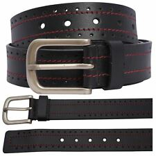 New Mens Hole Pattern Genuine Leather Red Border Stitched Buckle Belts S-3XL