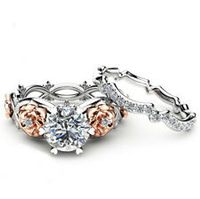 Fashion Couples Gold Flower Silver Ring Zircon Wedding Rings Jewelry Gifts Ring
