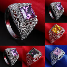 Fashion Women Zircon Silver Plated Wedding Engagement Ring Size 6-9 Jewelry Gift