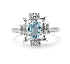 925 Sterling Silver Ring with Oval Cut Blue Topaz Natural Gemstone handcrafted