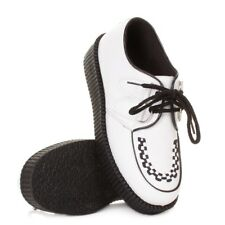WOMENS FLAT PLATFORM WEDGE LACE UP WHITE CREEPERS PUNK GOTH SHOES