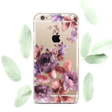 Cute Violet Flowers Floral Silicone Soft Rubber Case Cover Back For Apple iPhone