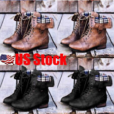 US Women Lace Up Low Heel Round Toe Foldable Military Combat Mid Calf Boot 5-9.5