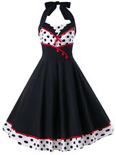 Ladies Party Dress Halter Polka Dot Print Pin Up Sleeveless Flare Button A-Line