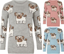 Womens Multi Pug Dog Printed Knitted Warm Top Ladies Cosy Stylish Jumper Sweater