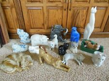 PORCELAIN CERAMIC PEWTER CAT FIGURES SHELF SITTERS ESTATE LOT