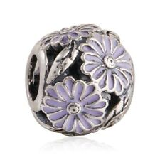 authentic Sterling Silver Charm Beads Enamel Daisy Charms European Bead