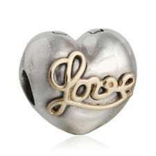 authentic Sterling Silver Love Heart Bead Thread Hole Charm Bead Fixed Clip