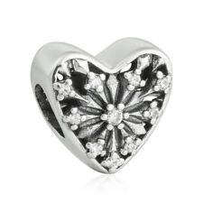 authentic Sterling Silver AAA CZ Ice Bead Heart Charms Bead Fit Bracelet Jewelry