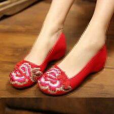 Women Flat Embroidery Black Red Color Platform Canvas Casual Shoes