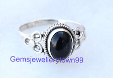 925 STERLING SILVER BLACK ONYX RING STONE GEMSTONE RING ANY SIZE R6BO