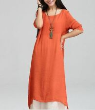 New Arrival Women Fashion Long-sleeved O-neck Cotton Fabric Two-piece Dress